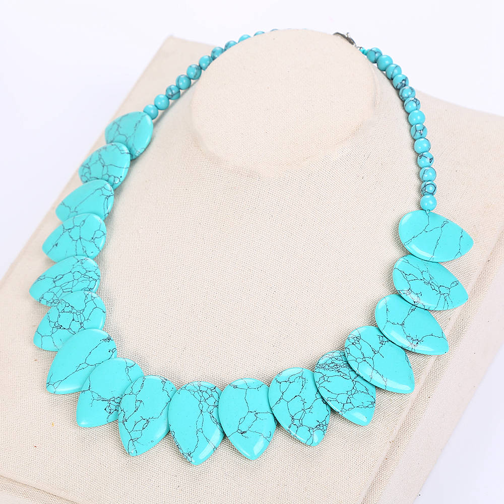 Female Long Pearl Water Drops Turquoise Necklace Leaf Choker Flower Charm Jewelry Women Love Necklace Turquoise Accessories New