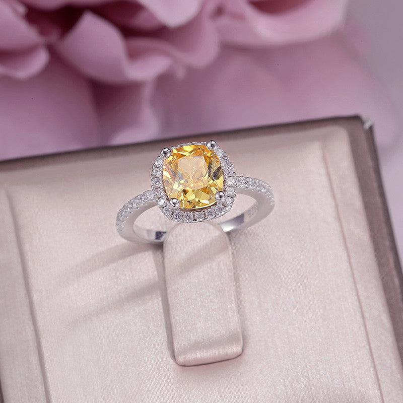 Fine Jewelry Rings For Women Soild 925 Silver Cubic Zirconia Yellow Rectangle Stone Simple Ring Bridal Wedding Engagement Bague