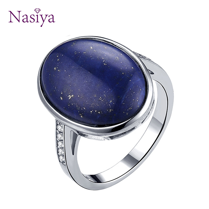 Finger Rings For Women 925 Stering Silver jewelry Oval Lapis Lazuli Stone Jewelry Wedding Engagement Party for Anniversary Gift