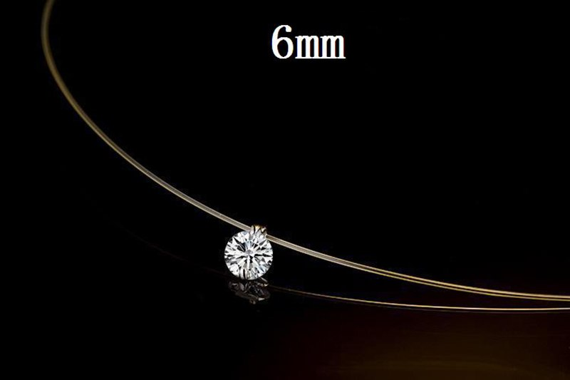 Fishing Line Simple Pendant Necklace Silver Color Dazzling Zircon Necklace Invisible Transparent Jewelry For Women Drop Shipping