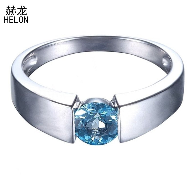 Flawless 1ct Round Genuine Blue Topaz Sterling silver 925 Wedding Ring for Women Solitaire Engagement Fine Jewelry Setting