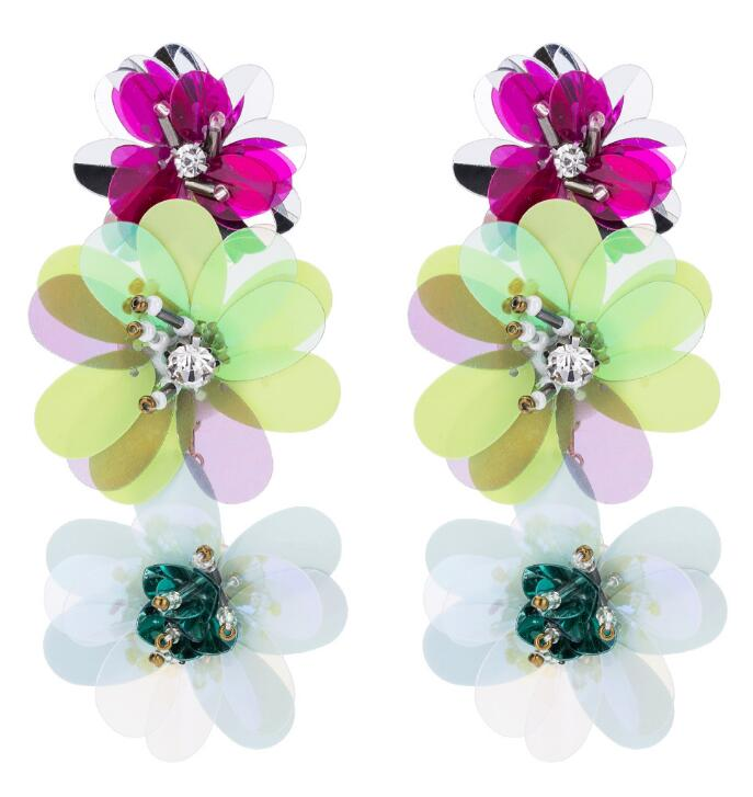 Flower drop Earring For Women Sequins Statement Earrings 2020 Floral long dangle earing fashion Jewelry large earing Wholesale