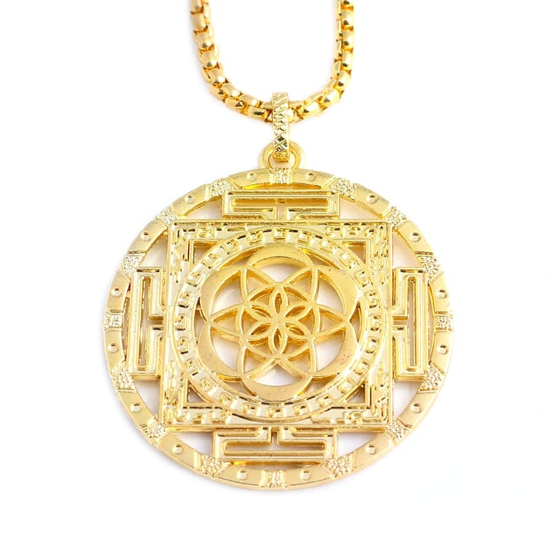 Flower of Life Charm Necklace Round Gold Silver Necklaces Pendants Mandala Jewelry for Women Mothers D Gift