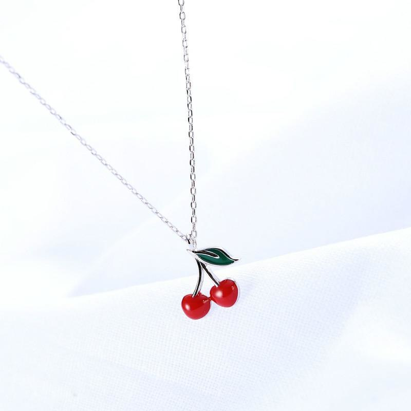 100% 925 Sterling Silver Red Drop Glaze Cherry Necklaces & Pendants For Women Simple Lady Fashion Jewelry