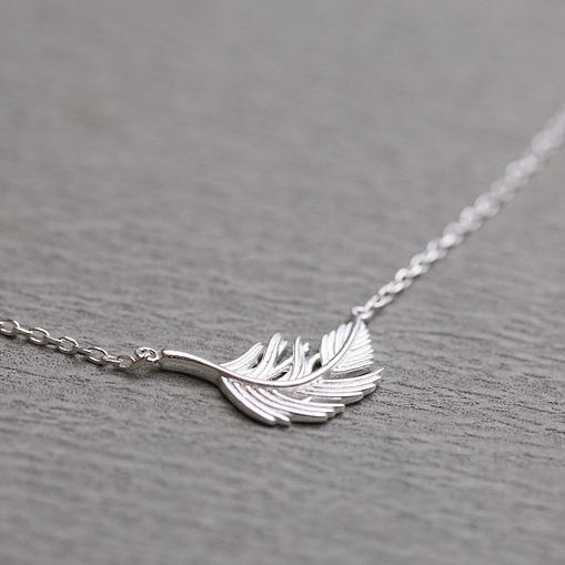 925 Sterling Silver Simple Feather Necklaces & Pendants For Women Gifts For Girls Hypoallergenic Sterling-silver-jewelry
