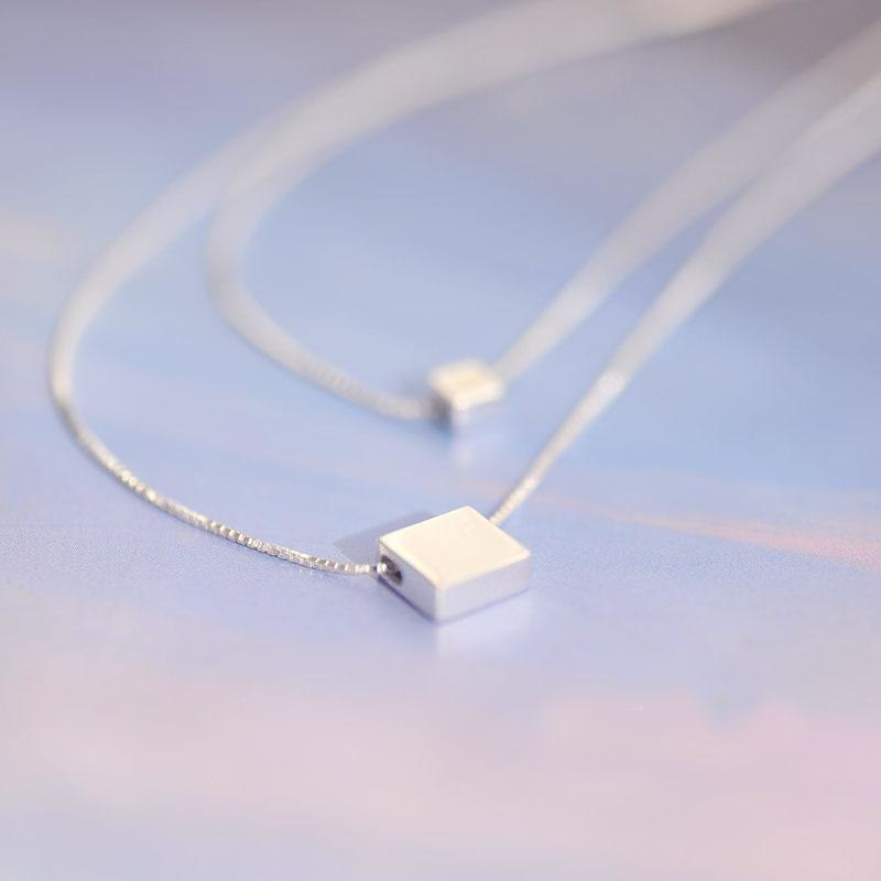 925 Sterling Silver Simple Square Necklaces & Pendants For Women Girl Hypoallergenic Sterling Silver Jewelry