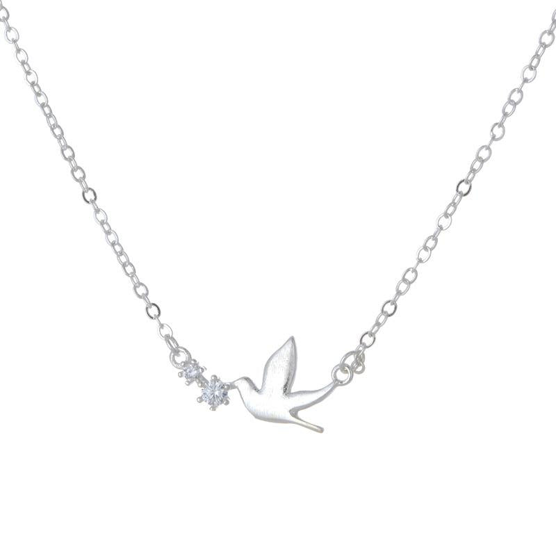 New Hot Sales 925 Sterling Silver Peace Pigeon Necklaces & Pendants For Women Simple Style Lady Trendy Fashion Jewelry