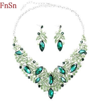Fnsn2020 Hot New Fashion Jewelry Sets Crystal Chokers Necklace Colorful Rhinestone Wedding Gift For Women Brides Prom Party S167