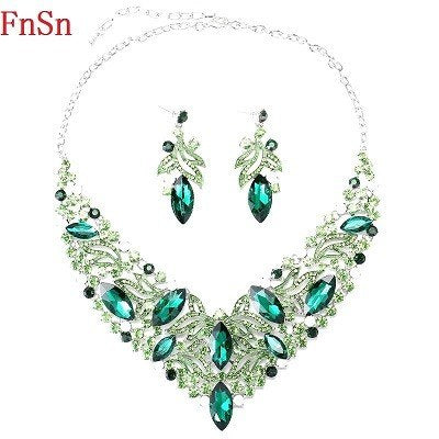 Fnsn2017 Hot New Fashion Jewelry Sets Crystal Chokers Necklace Colorful Rhinestone Wedding Gift For Women Brides Prom Party S167
