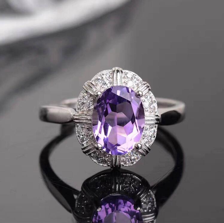 Free Shipping Amethyst ring Natural real amethyst 925 sterling silver Fine purple crystal rings Gem size: 7*9mm