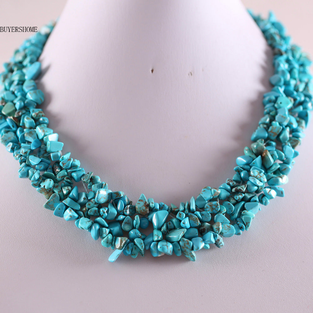 Free Shipping Free Shipping Jewelry 4X8MM Blue Howlite C Beads Nylon Line Weave Necklace 18 1Pcs E034