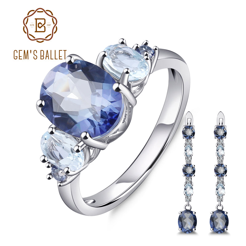 GEM'S BALLET Natural Iolite Mystic Quartz Sky Blue Topaz Gemstone Jewelry Set 925 Sterling Silver Earrings Ring Set For Women
