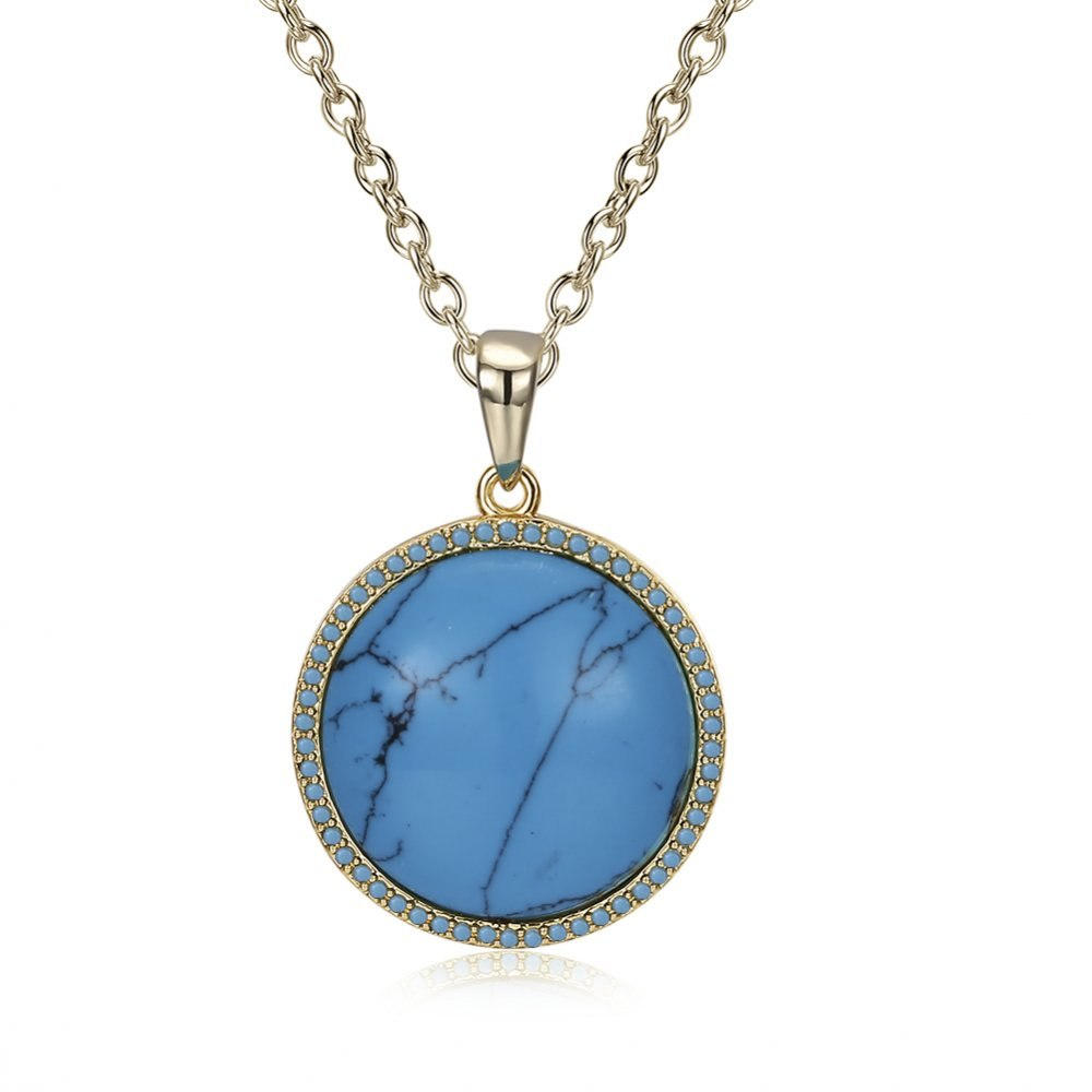 Brand Jewelry Fashion Blue Color Natural Gem Stone Turquoises Pendants Necklace Round Shape Pendant Necklace for Women