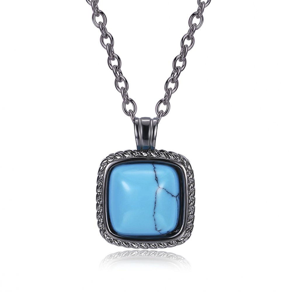 Brand Jewelry Fashion Turquoises Jewelry Blue Color Square Shape Temperament Necklace For Women Gift Pendant Necklaces