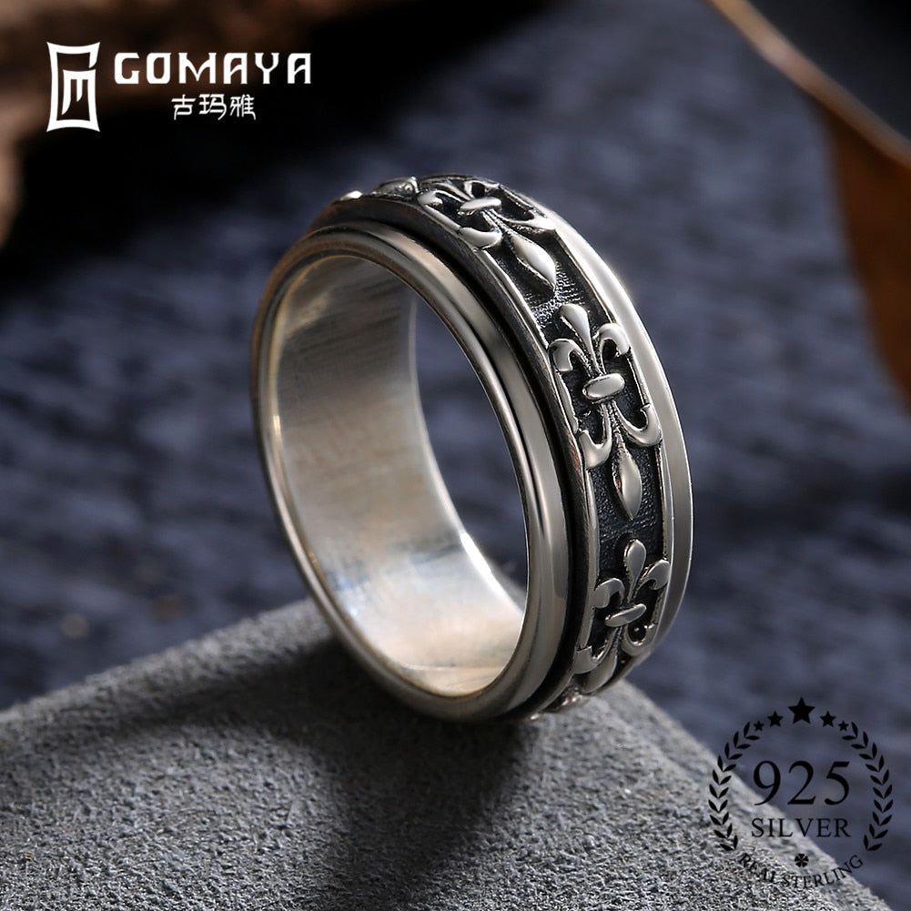 Men Women Ring Fine Jewelry Real 925 Sterling Silver Carving Flower Man Joint Ring Jewelry Gift Wholesale Bague