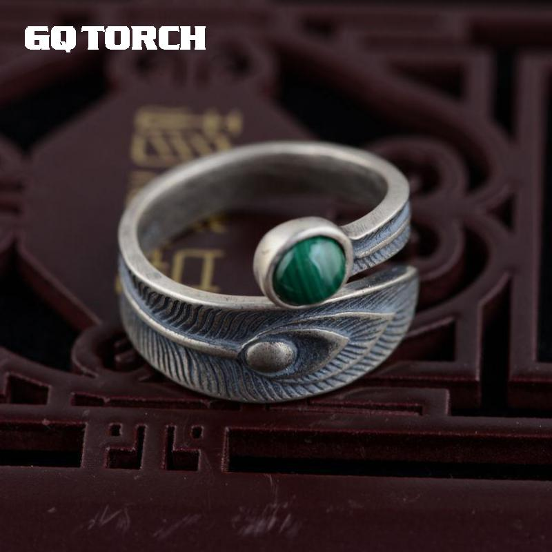 GQTORCH 925 Sterling Silver Rings For Women Inlaid Natural Malachite Stone Phoenix Tail Design Gemstone Rings Anel Feminino