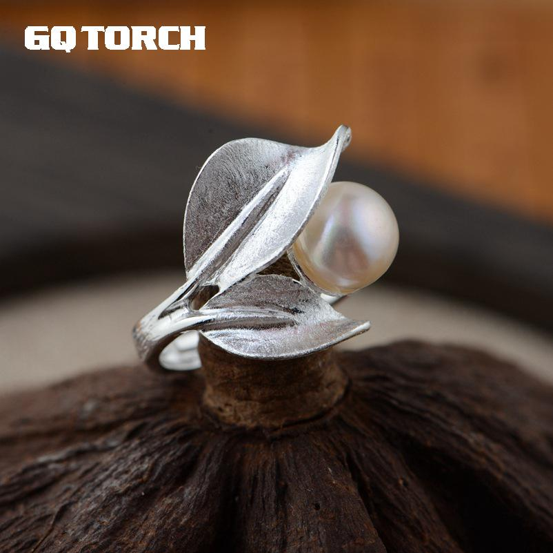 GQTORCH 925 Sterlingl Silver Pearl Rings For Women Leaf Shaped Vintage Unique Ring Fine Jewelry