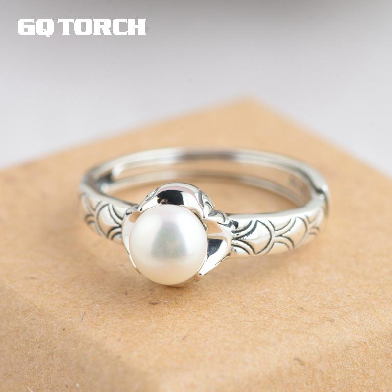 GQTORCH Elegant Pearl Ring Mountings Sterling Silver 925 Jewelry For Women Vintage Flower Engraved Simple Unique Rings
