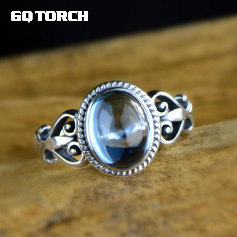 GQTORCH Real 925 Sterling Silver Ring Fine Jewelry Natural Blue Topaz Rings For Women Vintage Retro Type Flower Carving