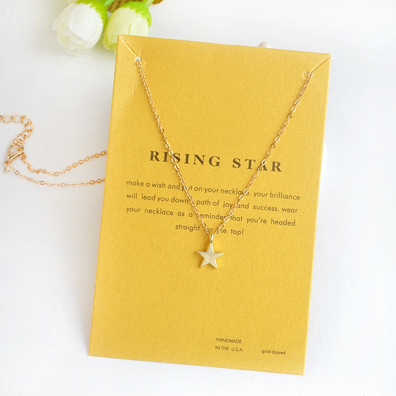 GUARDIAN ANGEL, RISING STAR, KARMA, CONFIDENCE IS KEY Pendant Necklace Gold Silver Minimalist Angel Wings Mini collar collier