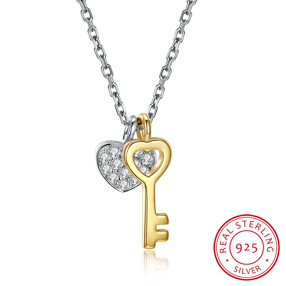 Genuine 925 Sterling Silver Full Zircon Heart Gold Color Key Pendant Necklaces Women Initial Necklace Chokers Lover's Gift