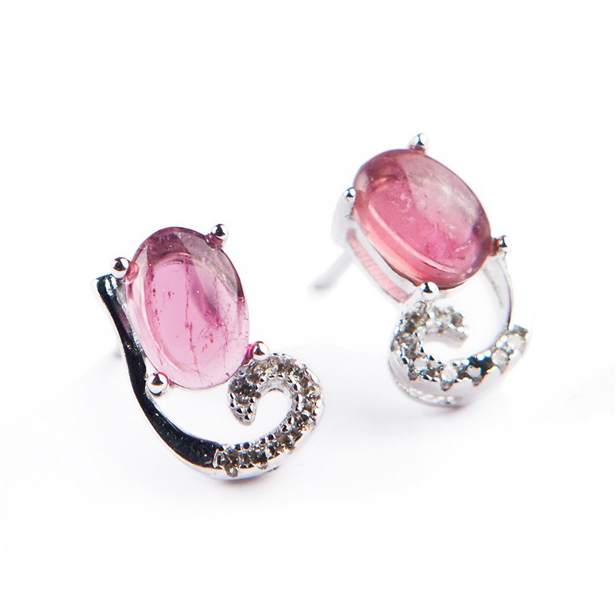 Genuine Natural Tourmaline Quartz Crystal Earrings For Women Lady Charms 925 Sterling Silver Jewelry Earring