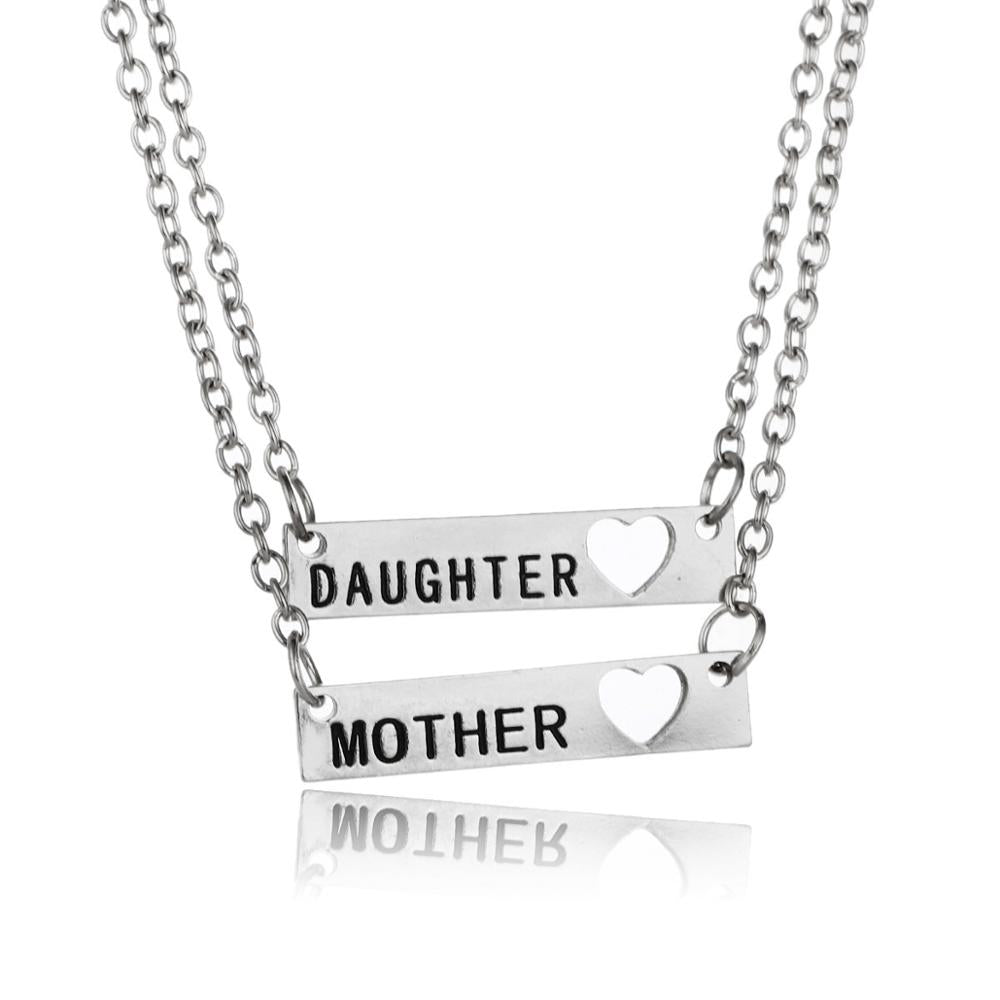 Gifts For Her Mom Daughter Mother Presents Family Heart Pendant Chain Necklace For Women Jewelry Heart Charm