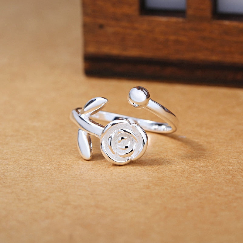 Girls Silver Ring Charm Cute Romantic White Bunch of Rose Shape Silver Ring For Women Jewelry