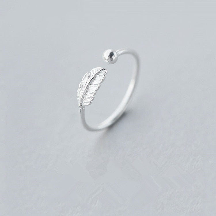 Girls Silver Ring Charm Romantic Girls Leaf Shape Rings For Women Jewelry