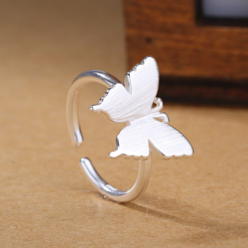 Girls Silver Ring Charm Romantic White Butterflies Open Silver Rings For Women Jewelry