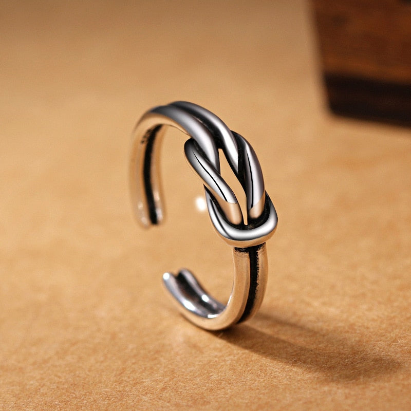 Girls Silver Ring Charm Vintage Silver Open Ring Love knot Shape Ring For Women Jewelry