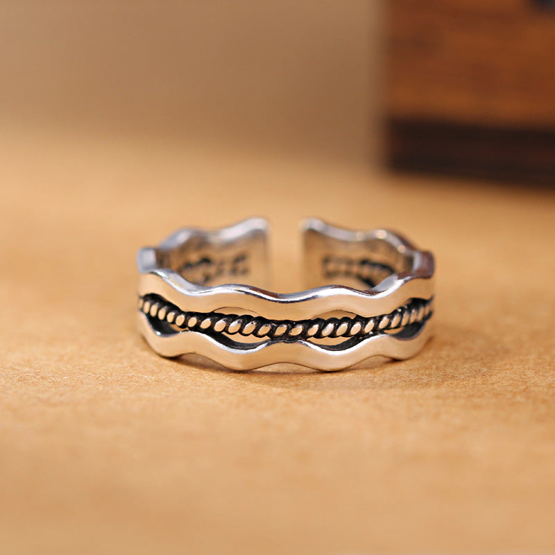 Girls Silver Ring Charm Vintage Wave Style Ring For Women Jewelry