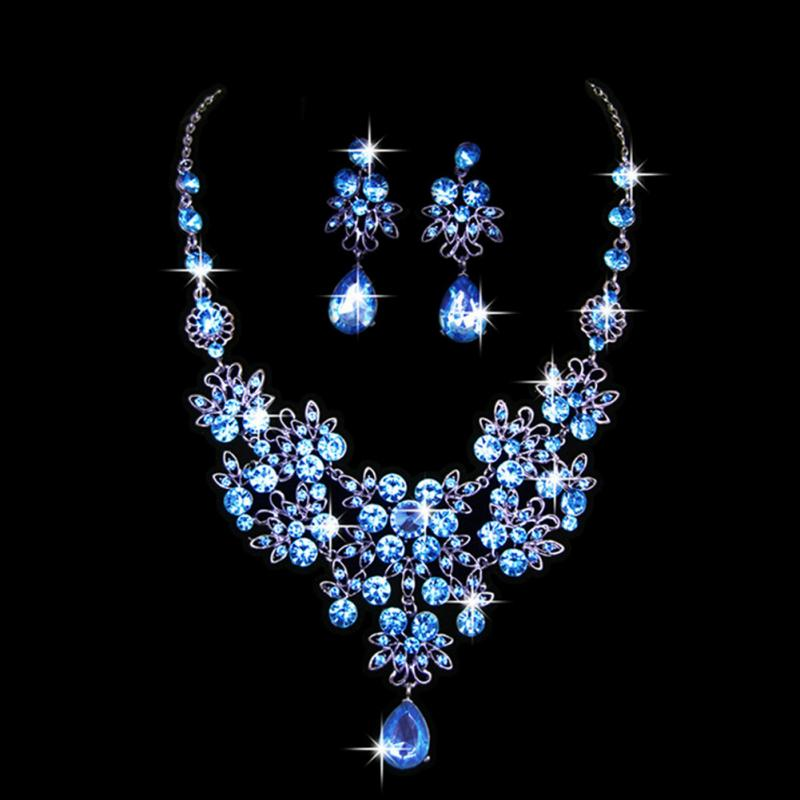 Girls women Jewelry Fashion Wedding Bridal Prom Crystal Rhinestone Pendant Necklace Earrings Jewelry Sets