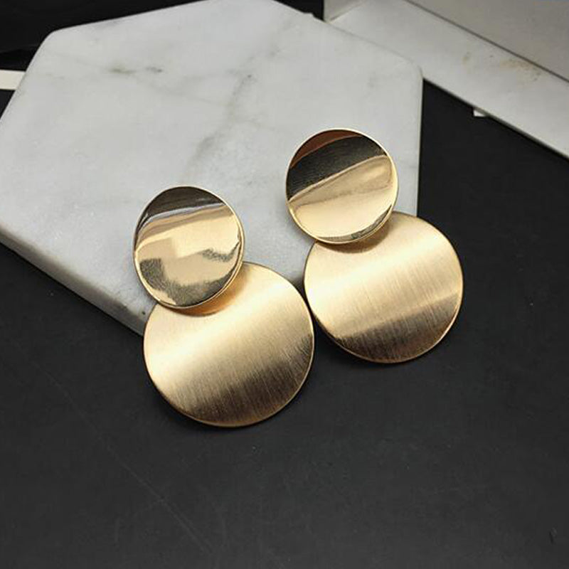 Gold Color Statement earrings 2020 Geometric Circle Metal drop Earrings for Women Fashion Round Dangle earing Vintage jewelry