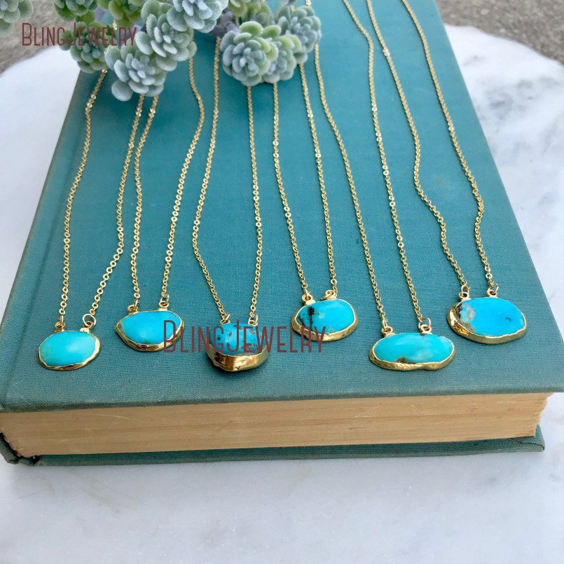 Gold Filled Minimalist Necklace Double Bail Turquoises Necklace Boho Rough Cut Freeform Turquoises Necklace NM11597