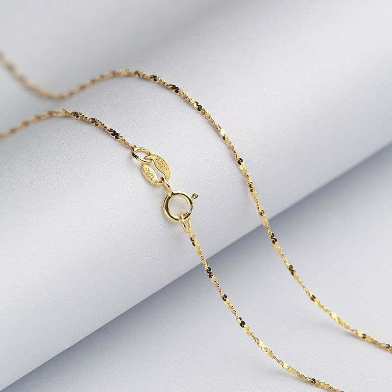 Gold / Rose Gold Genuine Real Pure Solid 925 Sterling Silver Basic Chains for Women Fine Jewelry Female Clavicle Chain Necklace