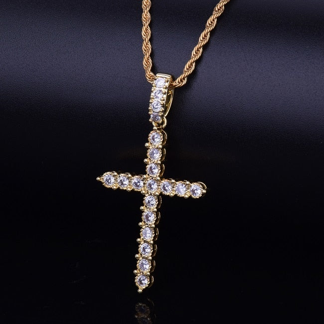 Gold Silver Cubic Zircon Cross Pendant Necklace Copper Material Bling C Men Women Hop Jewelry With Cuban/Rope Chain