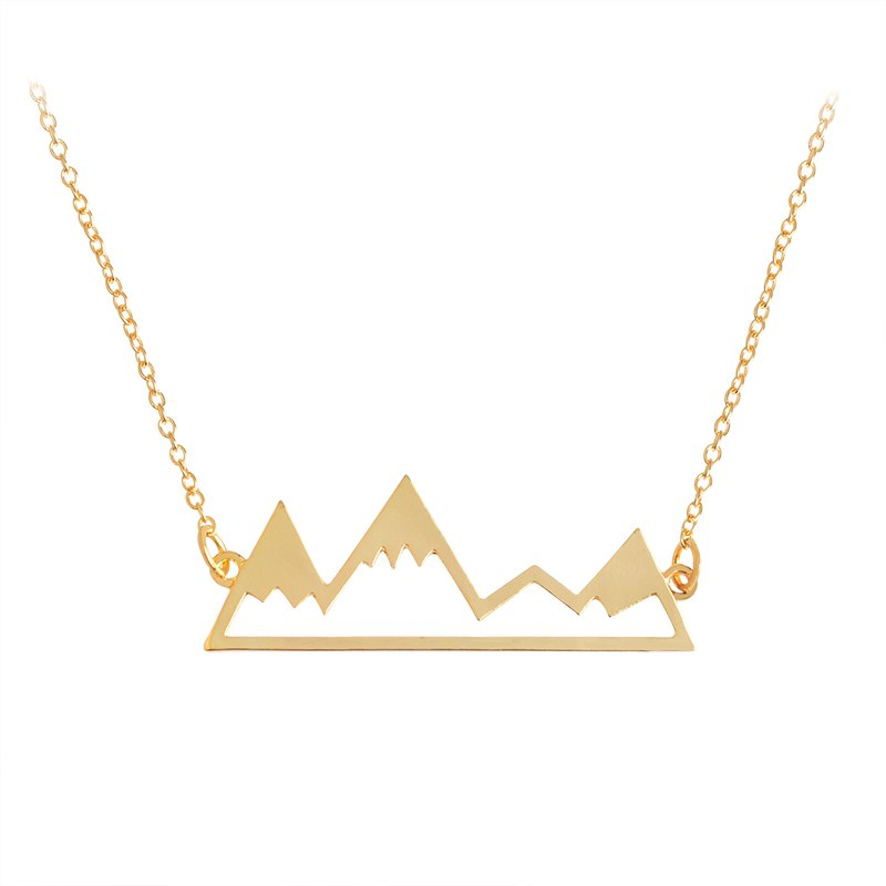 Gold/Silver Minimalist Mountain Top Pendant Snowy Mountain Necklace Hiking Outdoor Travel Jewelry Mountai Climbing Gifts