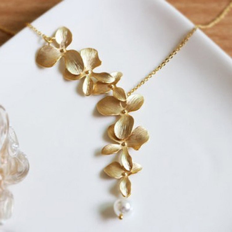 Gold Silver Orchid flower Necklace Boho Chic Necklace Wedding Jewelry Orchid flower Necklace XY160505