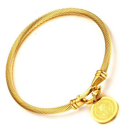 Gold-color Saint Benedict Medal Cuff Charm Bracelets & Bangle For Women Stainless Steel Wire Pulseira Jewelry