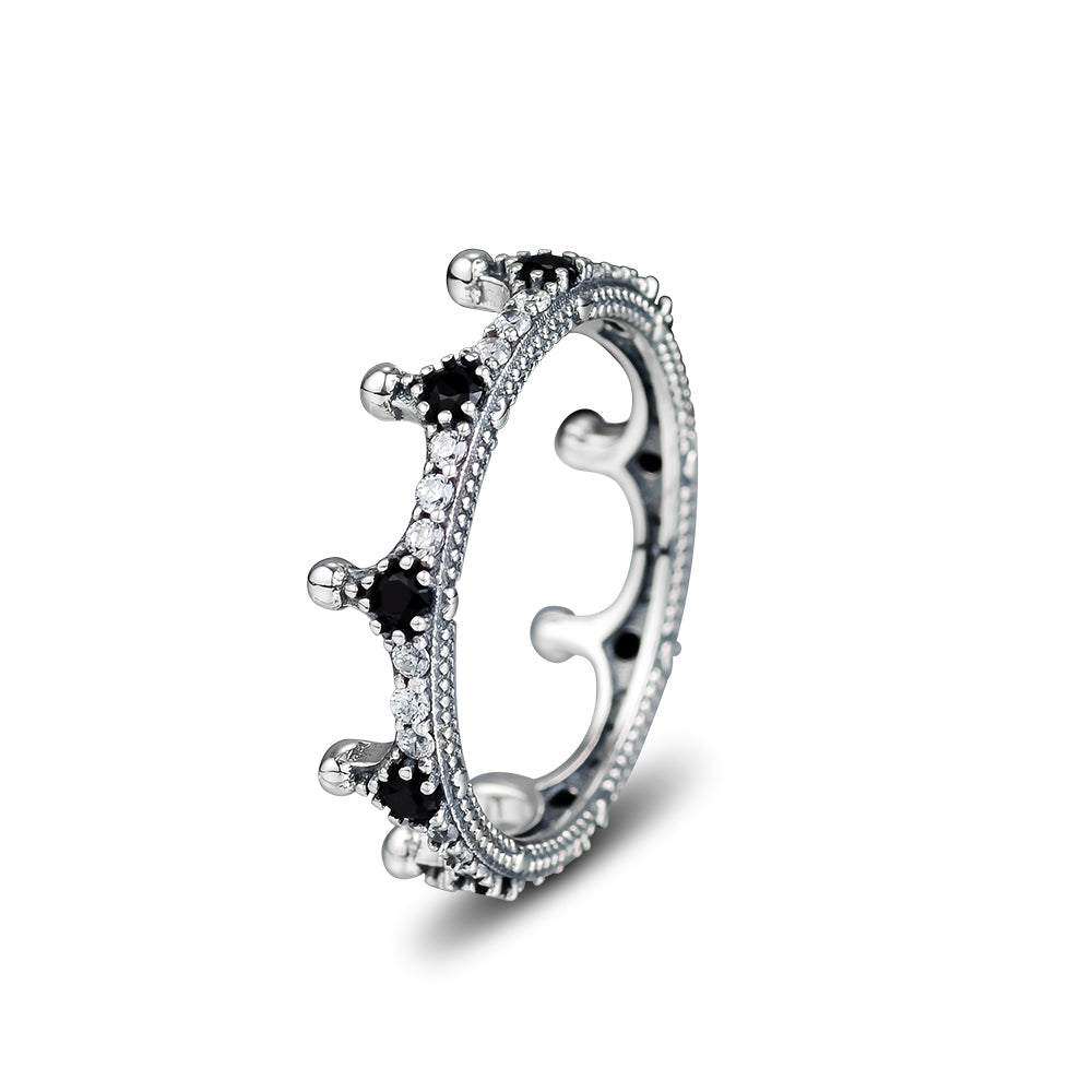 Good Quality 925 Sterling Silver Enchanted Crown Ring, Clear CZ & Black Crystals Finger Rings for Women Wedding Jewelry Making