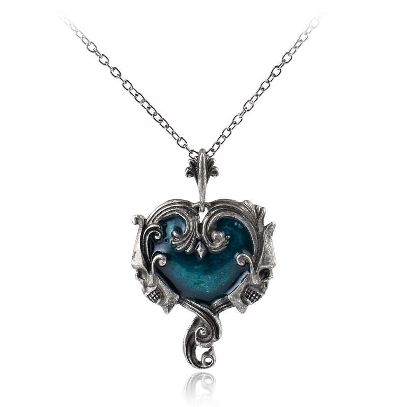 Gothic Statement Skull Necklace Heart Material Steampunk Jewelry Skeleton Pendant Necklace Colar Masculino Masculine Necklace