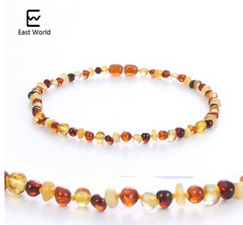 Multi color Amber Teething Necklace for Baby Women Baltic Polished Amber Natural Beads Jewelry Collar Suppliers for Etsy