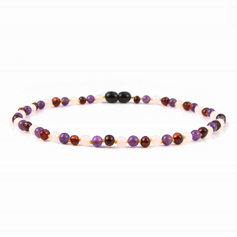 Natural Amber Necklace for Baby Kids Rose Quartz Amethyst Jewelry Cherry Baltic Amber Gemstone Child Sized Baby Necklace
