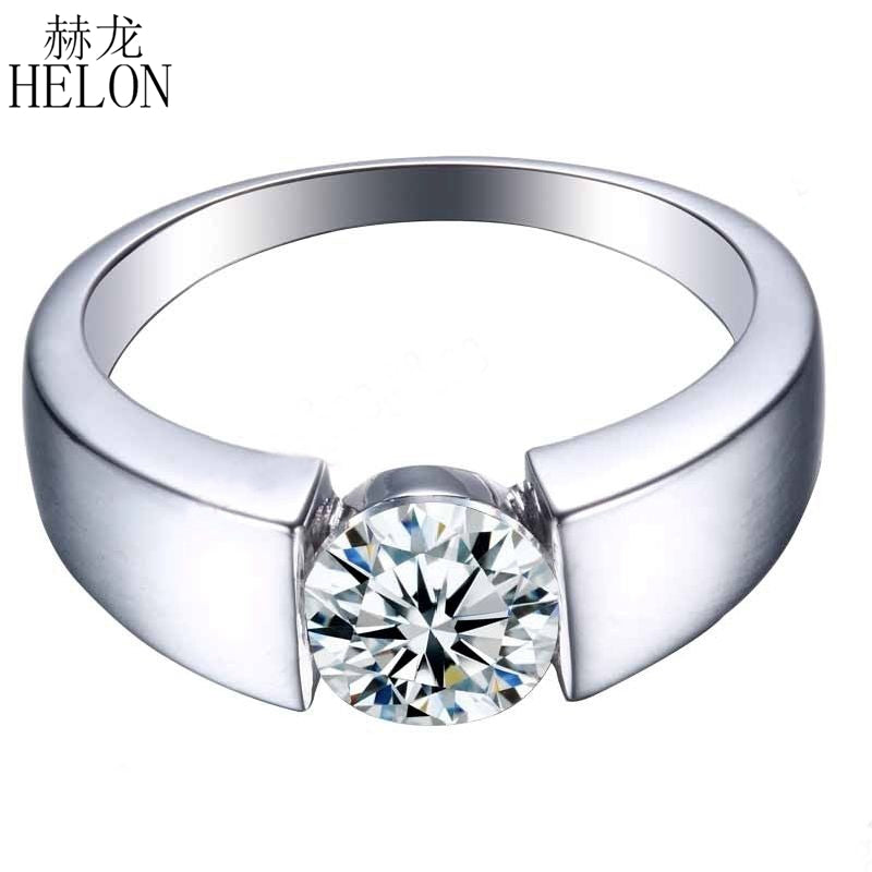 925 Sterling Silver Flawless Round 7.3mm Flawless Cubic Zirconia Engagement Wedding Polish Ring Setting For Women Jewelry