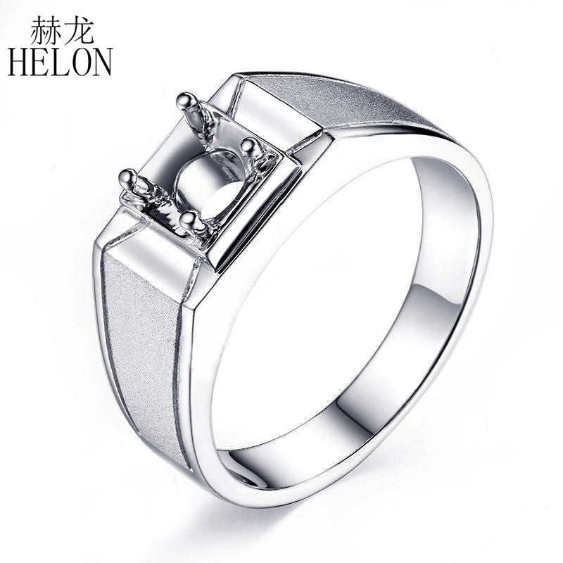 Men's Jewelry Real 925 Sterling Silver Solitaire Semi Mount Round Cut 6.5mm Engagement Wedding Trendy Men Ring Setting