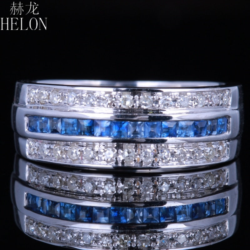Solid 14K White Gold Brilliant 0.7ct 100% Genuine Natural Diamond & Genuine Sapphires Jewelry Engagement Wedding Ring Band