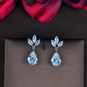 New Arrival Water Drop Dangle Earrings Brincos Bride Jewelry AAA Cubic Zirocn Pendant Crystal Earring Wholesale E-866