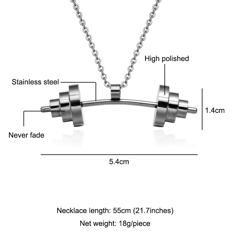 HIP Trendy Titanium Stainless Sport Fitness Barbell Dumbbell Pendant Necklaces For Men Women Jewelry Gold/Silver/Black Color