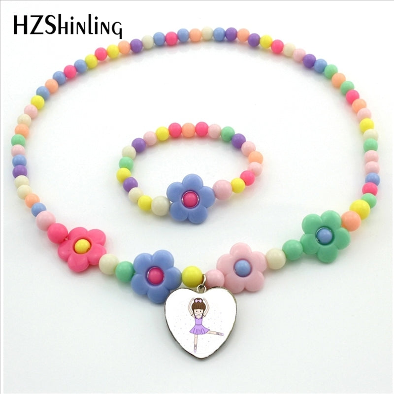 New Arrival Ballerina Girl Heart Necklace Cute Little Cartoon Ballerina Girl Flower Necklace Bead Jewelry for Girls